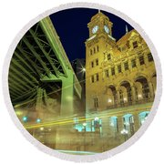 Main Street Station-vertical Round Beach Towel