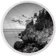 Maine Acadia Bass Harbor Lighthouse In Black And White Round Beach Towel by Ranjay Mitra