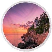 Maine Acadia Bass Harbor Lighthouse Sunset Round Beach Towel by Ranjay Mitra