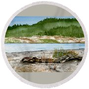 Maine Beach Wood Round Beach Towel
