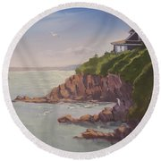 Maine Coast Abode - Art By Bill Tomsa Round Beach Towel