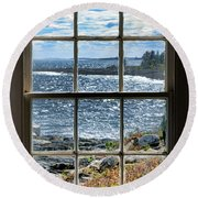 Maine Coast Picture Frame Round Beach Towel