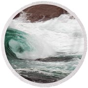 Maine Coast Storm Waves 1 Of 3 Round Beach Towel