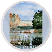 Maine Fall Reflections Round Beach Towel
