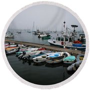 Maine Falmouth Boat Landing On Misty Morning Panorama Round Beach Towel