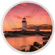 Maine Lighthouse Marshall Point At Sunset Round Beach Towel by Ranjay Mitra