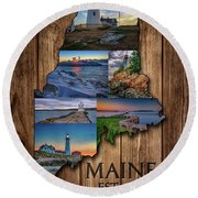 Maine Lighthouses Collage Round Beach Towel