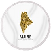 Maine Map Art Abstract In Golden Brown Round Beach Towel