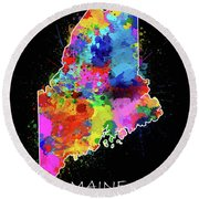 Maine Map Color Splatter 2 Round Beach Towel