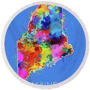 Maine Map Color Splatter 3 Round Beach Towel