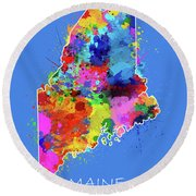 Maine Map Color Splatter 3 Round Beach Towel