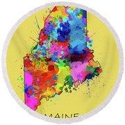 Maine Map Color Splatter 4 Round Beach Towel