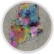 Maine Map Color Splatter 5 Round Beach Towel