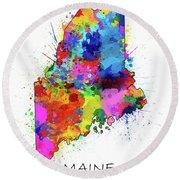 Maine Map Color Splatter Round Beach Towel