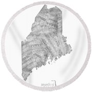 Maine Map Music Notes Round Beach Towel