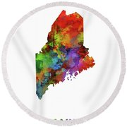 Maine Map Watercolor Round Beach Towel