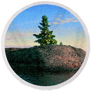 Maine Stone Island Sunrise Round Beach Towel