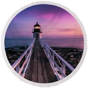 Maine Sunset At Marshall Point Lighthouse Round Beach Towel