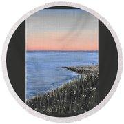 Maine Sunset Round Beach Towel