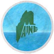Maine Wordplay Round Beach Towel
