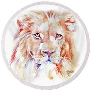 Majestic African Lion Round Beach Towel