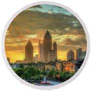 Majestic Gold Midtown Atlantic-station Atlanta Sunrise Art Round Beach Towel