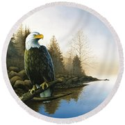 Majestic Light - Eagle Round Beach Towel