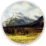 Majestic Mount Rundle Round Beach Towel