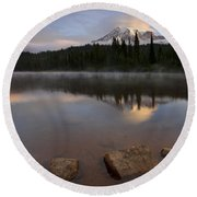 Majestic  Rainier Dawn Round Beach Towel
