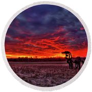 Majestic Red Clouds Winter Sunset The Iron Horse Art Round Beach Towel