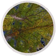Majestic Trees Abstract Poster 2 Round Beach Towel