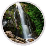 Majestic Waterfall Round Beach Towel