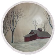 Majestic Winter Night Round Beach Towel