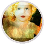 Golden Curls Round Beach Towel