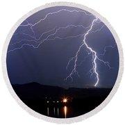 Major Foothills Lightning Strikes Round Beach Towel