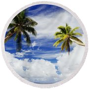 Majuro Atoll, Two Coconut Trees Lean Over Round Beach Towel