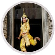 Makala Dancer In Cambodia Round Beach Towel