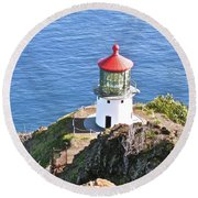 Makapuu Lighthouse 1065 Round Beach Towel