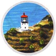 Makapuu Lighthouse #78, Round Beach Towel