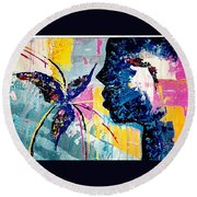 Make A Wish Abstract Art Figure Painting  Round Beach Towel