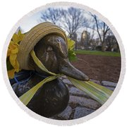Make Way For Ducklings B.a.a. 5k Spring Bonnet Round Beach Towel