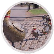 Make Way For The Ducklings Round Beach Towel