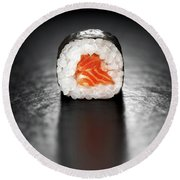 Maki Sushi Roll With Salmon Round Beach Towel
