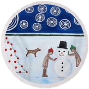 Making A Snowman At Christmas Round Beach Towel by Patrick J Murphy