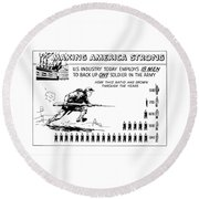 Making America Strong Cartoon Round Beach Towel