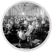 Making Money At The Bureau Of Printing And Engraving - Washington Dc - C 1916 Round Beach Towel
