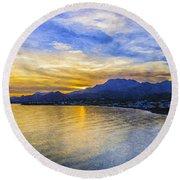 Makrygialos Sunset Digital Painting Round Beach Towel