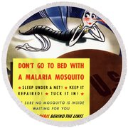 Malaria Mosquito Round Beach Towel by War Is Hell Store