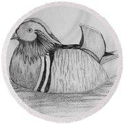 Male Mandrain Duck  Round Beach Towel
