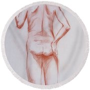 Male Model 19 Round Beach Towel
